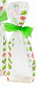 Frosted holly hard bottom bag which stands upright on shelf