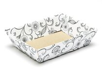 White with Floral Pattern Small Shallow sized Card Tray Hamper - Fold-up Tapered Gift Tray Ideal for Christmas or Gifting occasions