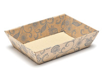 Kraft Floral Small Shallow Corrugated Card Tray Hamper