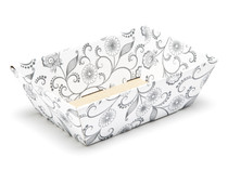 White with Floral Pattern Small sized Card Tray Hamper - Fold-up Tapered Gift Tray Ideal for Christmas or Gifting occasions