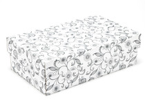 White with Floral Pattern Small sized General Purpose Gift Box - Gift Box - Larger Size Ideal for Christmas or Gifting occasions