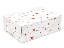 White with Red Stars pattern Medium sized General Purpose Gift Box - Gift Box - Larger Size Ideal for Christmas or Gifting occasions