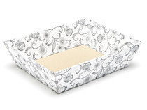 White with Floral Pattern Medium sized Card Tray Hamper - Fold-up Tapered Gift Tray Ideal for Christmas or Gifting occasions