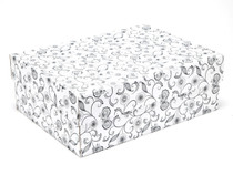White with Floral Pattern Medium Corrugated General Purpose Gift Box