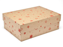 Kraft Stars Medium sized General Purpose Gift Box - Gift Box - Larger Size Ideal for Christmas or Gifting occasions