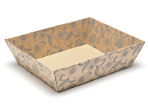 Kraft Floral Medium Corrugated Self Assembly Card Tray Hamper