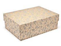 Kraft Floral Medium sized General Purpose Gift Box - Gift Box - Larger Size Ideal for Christmas or Gifting occasions