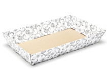 White with Floral Pattern Large sized Card Tray Hamper - Fold-up Tapered Gift Tray Ideal for Christmas or Gifting occasions