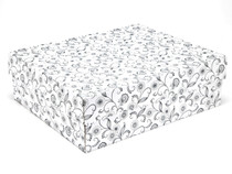 White with Floral Pattern Large Corrugated General Purpose Gift Box