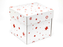 Large Cube General Purpose Gift Box - White with Red Stars pattern | MeridianSP