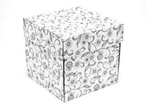White with Floral Pattern Large Cube Corrugated General Purpose Gift Box