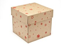 Kraft Stars Large Cube Corrugated General Purpose Gift Box
