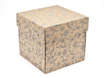 Kraft Floral Large Cube sized General Purpose Gift Box - Gift Box - Larger Size Ideal for Christmas or Gifting occasions