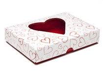 Light Hearts 12 Choc sized Heart Valentined PVC Window Lid