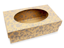 Small General Purpose Corrugated Gift Box with Oval Window Kraft with Blue Floral Pattern