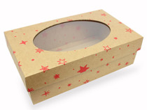 Small General Purpose Corrugated Gift Box with Oval Window Kraft with Red Stars