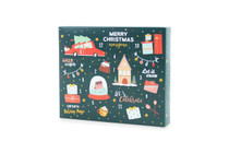 Angled view of 12 Day self-fill advent calendar. Green with scandinavian illustrations