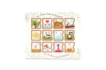 Front view of the 12 Day self-fill advent calendar. In the theme of the seasonal song; 12 Days of Christmas