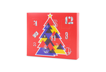 Angled view of the 12 Day self-fill advent calendar. Red box with geometric styled tree