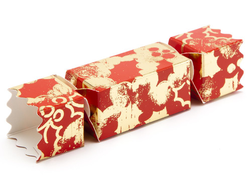Small Twist End Cracker - Red and Gold Holly | MeridianSP