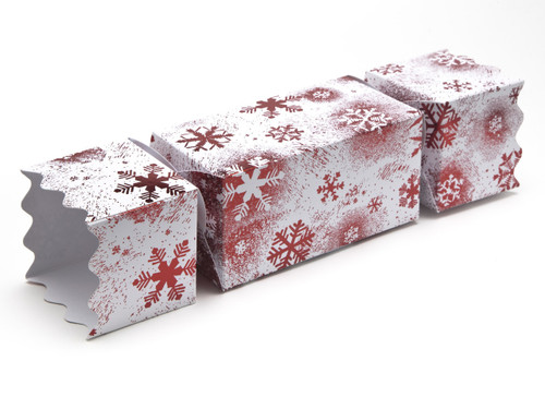 Large Twist End Cracker - Red and White Snowflake | MeridianSP