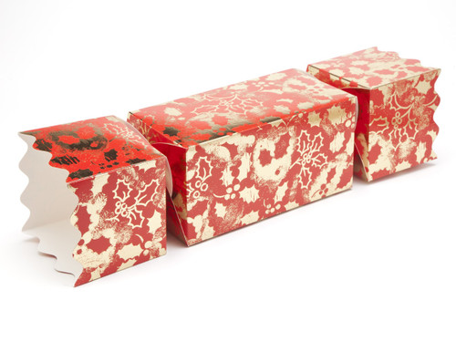 Giant Twist End Cracker - Red and Gold Holly | MeridianSP