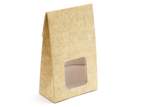 Small A-Frame Carton with Square Window - Natural Kraft | MeridianSP