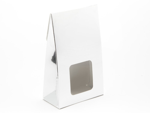 Small A-Frame Carton with Square Window - Bright Silver | MeridianSP