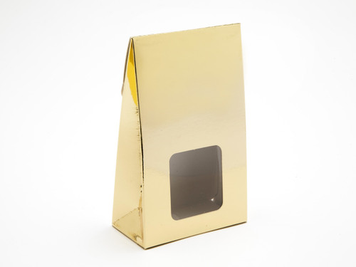 Small A-Frame Carton with Square Window - Bright Gold | MeridianSP