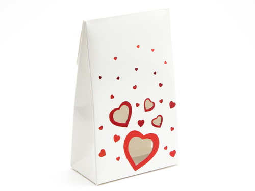 Valentine's Tapered Gift Favour Carton with Elegant White foiled Love Hearts design and Window