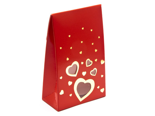 Valentine's Tapered Gift Favour Carton with Elegant Red foiled Love Hearts and Window