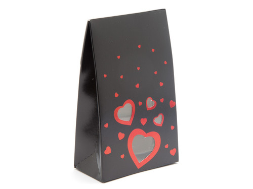 Valentine's or Wedding Tapered Gift Favour Carton with Elegant Black foiled Love Hearts and Window
