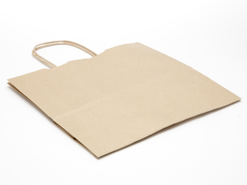 Medium Paper Carrier Bag - Premium Ribbed Kraft | MeridianSP