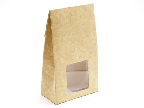 Large A-Frame Carton with Square Window - Natural Kraft | MeridianSP