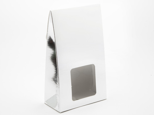 Large A-Frame Carton with Square Window - Bright Silver | MeridianSP
