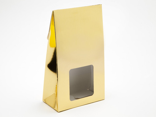 Large A-Frame Carton with Square Window - Bright Gold | MeridianSP