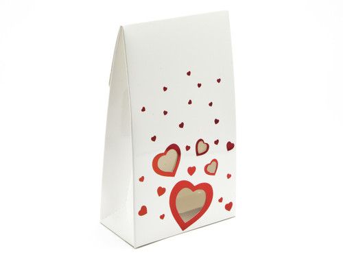 Valentine's Tapered Gift Carton with Elegant White foiled Love Hearts and Heart Window