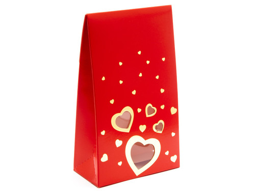 Valentine's Tapered Gift Carton with Elegant Red foiled Love Hearts design and Window