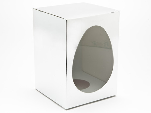 Large Easter Egg Carton and Plinth - Bright Silver | MeridianSP