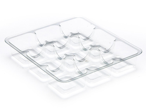 9 Choc Square Vac-Forme Tray - Clear | MeridianSP