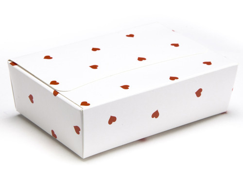 6 Choc Ballotin - Small Red Hearts on White | MeridianSP