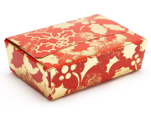 6 Choc Ballotin - Red and Gold Holly | MeridianSP