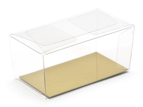 2 Choc Rectangular Transparent Carton - Clear | MeridianSP