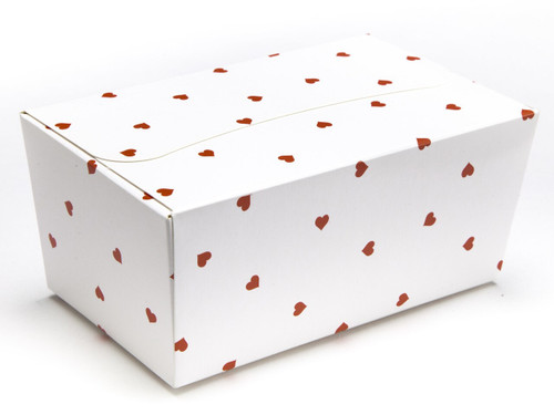 500g Ballotin - Small Red Hearts on White | MeridianSP