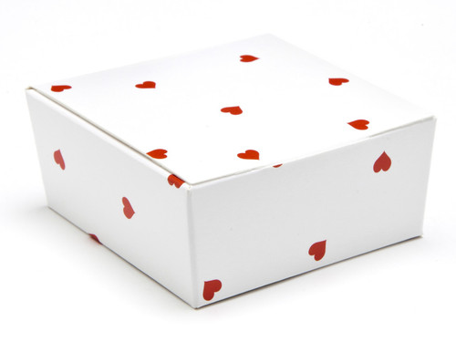 4 Choc Ballotin - Small Red Hearts on White | MeridianSP
