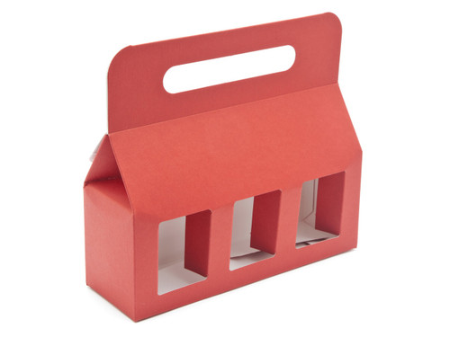 3x8oz (Jars) Carry Handle Window Carton - Red | MeridianSP