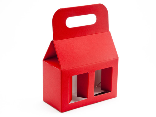 2x8oz (Jars) Carry Handle Window Carton - Red | MeridianSP
