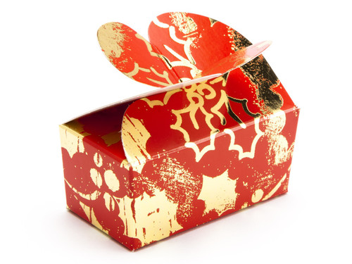 2 Choc Butterfly Ballotin - Red and Gold Holly  MeridianSP