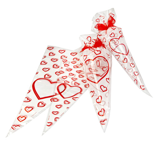 Large Frosted Valentine's Heart Cone Bag 250x460