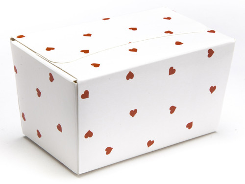 250g Ballotin - Small Red Hearts on White | MeridianSP